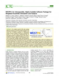 WESTPA: An Interoperable, Highly Scalable Software Package for ...