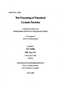 Wet Processing of Nanosized Ceramic Particles