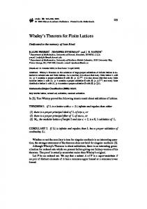 Whaley's Theorem for Finite Lattices