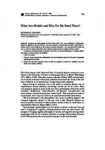 What Are Models and Why Do We Need Them? - Springer Link