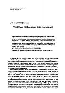 What can a mathematician do in neuroscience?