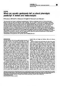 What can aquatic gastropods tell us about phenotypic ...
