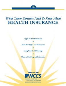 What Cancer Survivors Need To Know About Health Insurance- (PDF)