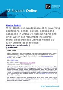 What Confucius would make of it: governing educational desire ...