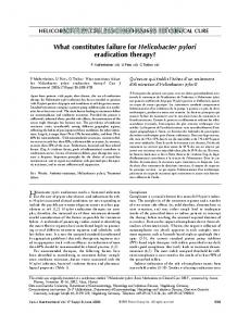 What constitutes failure for Helicobacter pylori eradication therapy?