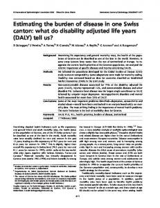 what do disability adjusted life years (DALY) - EurOhex