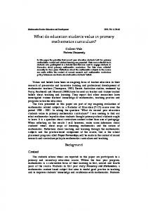 What do education students value in primary mathematics ... - CiteSeerX