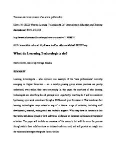 What do Learning Technologists do - CiteSeerX