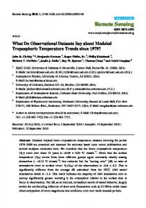 What do observational datasets say about tropospheric temperature ...