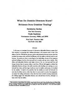 What Do Outside Directors Know? Evidence from
