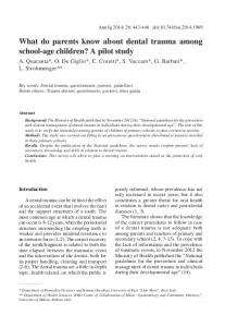 What do parents know about dental trauma among ... - Semantic Scholar