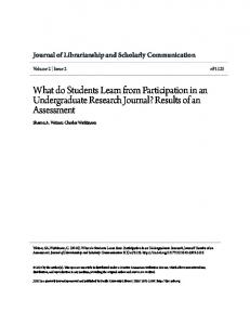 What do Students Learn from Participation in an Undergraduate ...