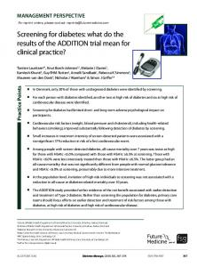 what do the results of the ADDITION trial mean for