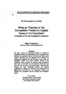 What do Theories of Tax Competition Predict for Capital ... - CiteSeerX