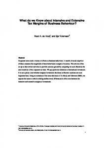 What do we Know about Intensive and Extensive Tax ...
