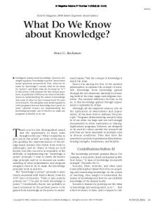 What Do We Know About Knowledge? - Association for the ...