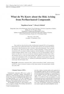 What do We Know about the Risk Arising from Perfluorinated ...