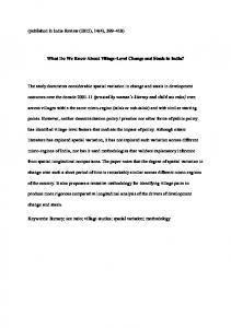 What Do We Know About Village-Level Change and ...
