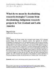 What do we mean by decolonizing research strategies? Lessons from