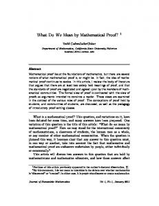 What Do We Mean by Mathematical Proof? - CiteSeerX