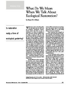 What Do We Mean When We Talk About Ecological Restoration?