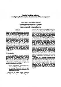 What Do You Want to Know? Investigating the ... - Semantic Scholar