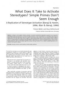 What Does It Take to Activate Stereotypes? Simple ...