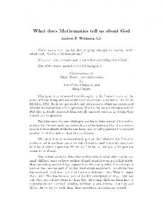 What does Mathematics tell us about God