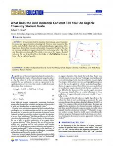What Does the Acid Ionization Constant Tell You? An Organic ...