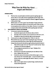 What Does the Bible Say About . . . Angels and Demons?