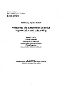 What does the evidence tell us about fragmentation and outsourcing