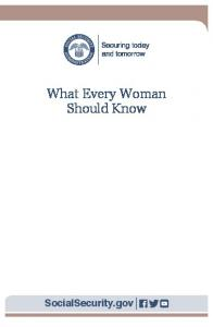 What Every Woman Should Know - Social Security