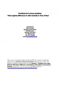 What explains differences in child mortality in West ...