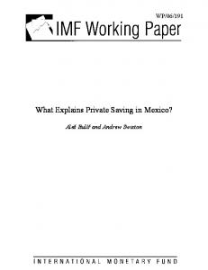 What Explains Private Saving in Mexico? - IMF