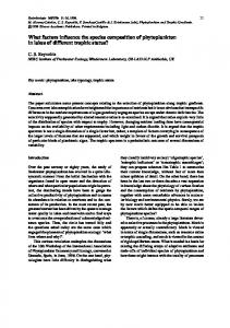 What factors influence the species composition of phytoplankton in ...