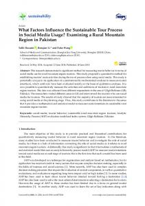 What Factors Influence the Sustainable Tour Process in Social ... - MDPI