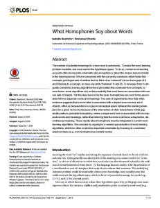 What Homophones Say about Words - PLOS