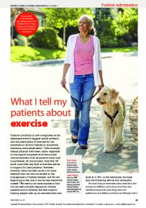 What I tell my patients about exercise