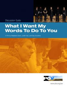 What I Want My Words To Do To You - PBS