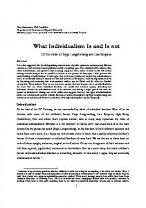 What Individualism Is and Is not - Resources