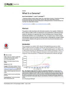 What Is a Genome? - PLOS