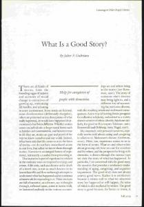 What Is a Good Story? - Sociology