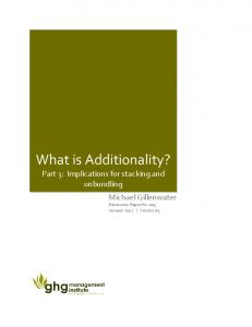 What is additionality - Greenhouse Gas Management Institute