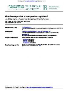 What is comparable in comparative cognition? - Lars Chittka - Queen ...