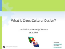 What is Cross-Cultural Design?