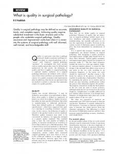 What is quality in surgical pathology? - Journal of Clinical Pathology