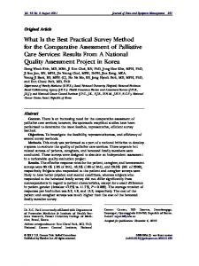 What Is the Best Practical Survey Method for the Comparative ...
