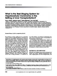 What is the best staging system for hepatocellular ... - aasld - Wiley