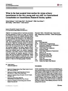 What is the best surgical intervention for stress urinary ...