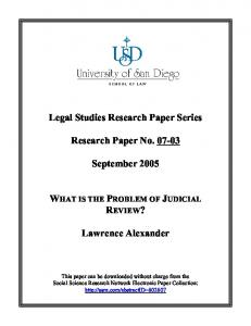 What is the Problem of Judicial Review
